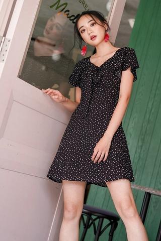 MEGAN DOTTED SWEETHEART RIBBON DRESS #MADEBYLOVET (BLACK) *RESTOCKED*