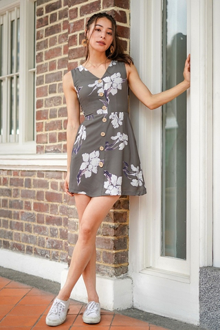 VEANNE FLORAL BUTTON DOWN DRESS #MADEBYLOVET (OLIVE)