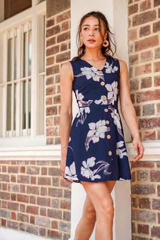 VEANNE FLORAL BUTTON DOWN DRESS #MADEBYLOVET (NAVY)