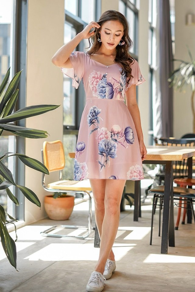 KEATHER SWEETHEART FLORAL BUTTON DRESS #MADEBYLOVET (POWDER PINK)