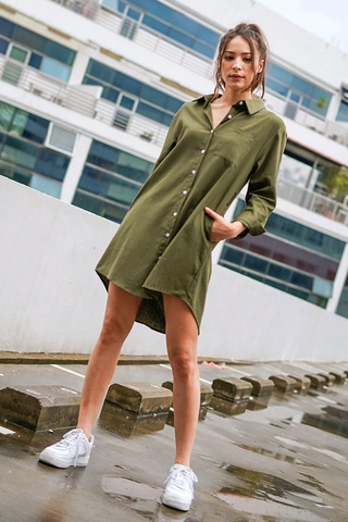 ASHLE LINEN BOYFRIEND SHIRT DRESS WITH SASH #MADEBYLOVET (MILITARY GREEN)