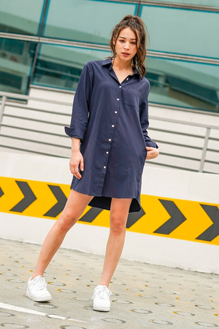ASHLE LINEN BOYFRIEND SHIRT DRESS WITH SASH #MADEBYLOVET (NAVY) *RESTOCKED*