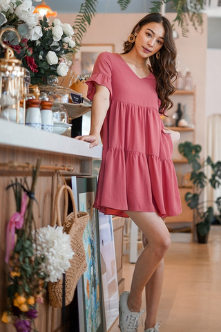 WINNIE BABYDOLL TIERED DRESS #MADEBYLOVET (TERRACOTTA)