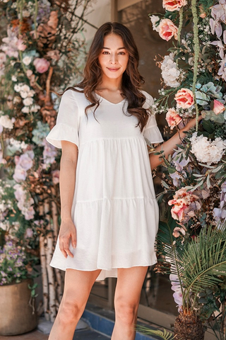 WINNIE BABYDOLL TIERED DRESS #MADEBYLOVET (WHITE)