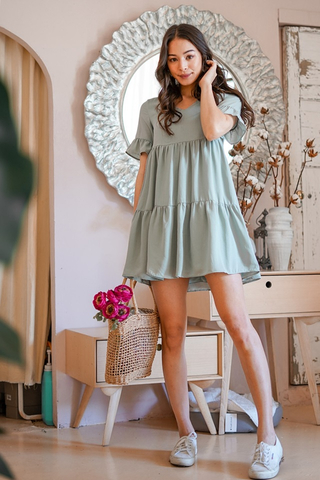 WINNIE BABYDOLL TIERED DRESS #MADEBYLOVET (SAGE)