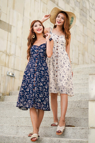 DELPHINE FLORAL BUTTON MIDI DRESS #MADEBYLOVET (NAVY)