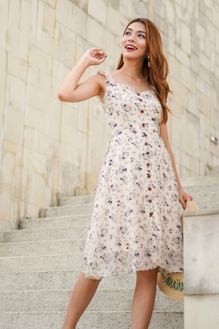 DELPHINE FLORAL BUTTON MIDI DRESS #MADEBYLOVET (CREAM)