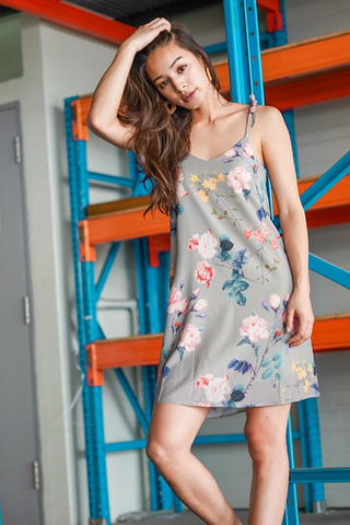 LYDIA FLORAL TIE STRING DRESS #MADEBYLOVET (JADE GREEN)