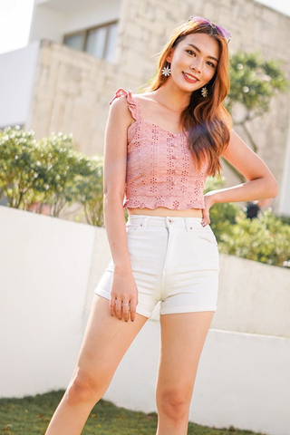 KATRICE EYELET BUTTON RUFFLES CROP TOP #MADEBYLOVET (DUSTY PINK)