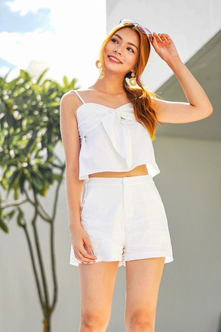 EUNICE 2-PIECE RIBBON LINEN SET #MADEBYLOVET (WHITE) *BACKORDER*