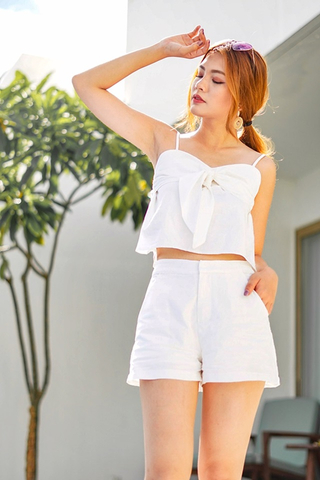 EUNICE 2-PIECE RIBBON LINEN SET #MADEBYLOVET (WHITE) *RESTOCKED*