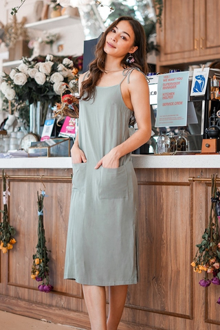 DORCAS LINEN TIE-STRING POCKET MIDI DRESS #MADEBYLOVET (SAGE)