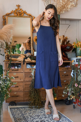 DORCAS LINEN TIE-STRING POCKET MIDI DRESS #MADEBYLOVET (NAVY)