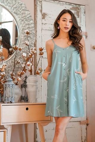 LUISA BOTANICAL FLORAL SPAG DRESS #MADEBYLOVET (SAGE) *RESTOCKED*