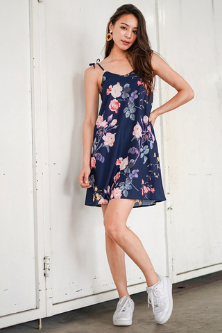 LYDIA FLORAL TIE STRING DRESS #MADEBYLOVET (NAVY)