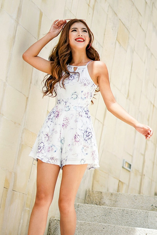 QUINN KEYHOLE WATERCOLOR FLORAL ROMPER #MADEBYLOVET (WHITE)