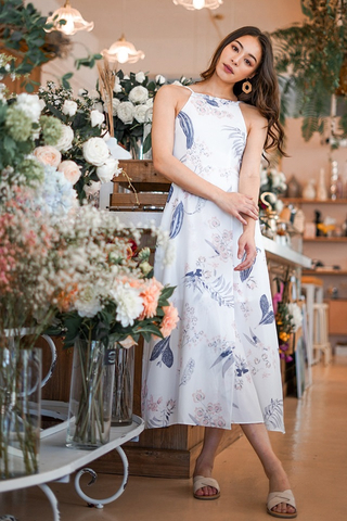 RIVELLA  FLORAL MAXI SLIT DRESS #MADEBYLOVET (WHITE)