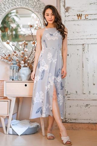 RIVELLA  FLORAL MAXI SLIT DRESS #MADEBYLOVET (GREY)