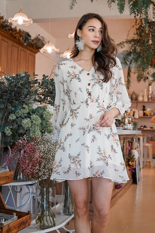 TAUVIA SLEEVED FLORAL BUTTON DRESS #MADEBYLOVET (OFF-WHITE)
