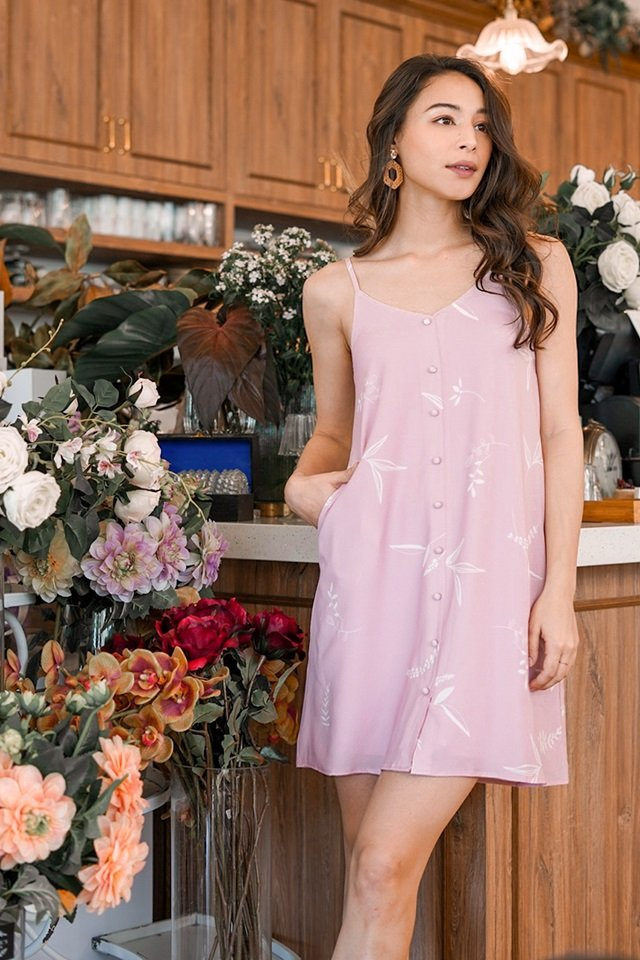 LUISA BOTANICAL FLORAL SPAG DRESS #MADEBYLOVET (POWDER PINK)