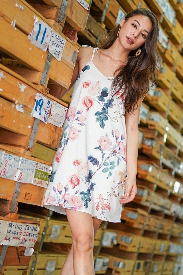 LYDIA FLORAL TIE STRING DRESS #MADEBYLOVET (WHITE)