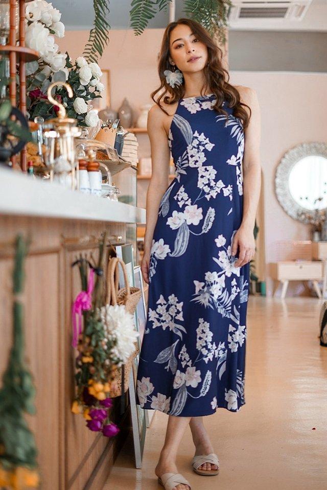 RIVELLA  FLORAL MAXI SLIT DRESS #MADEBYLOVET (NAVY)