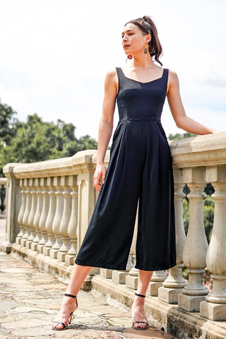 CELESTAL SWEETHEART JUMPSUIT WITH SASH #MADEBYLOVET (BLACK)