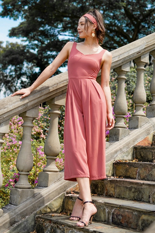 CELESTAL SWEETHEART JUMPSUIT WITH SASH #MADEBYLOVET (TERRACOTA)