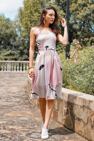 CHEYANNE ABSTRACT MIDI DRESS WITH SASH #MADEBYLOVET (TAUPE/PINK) *RESTOCKED*