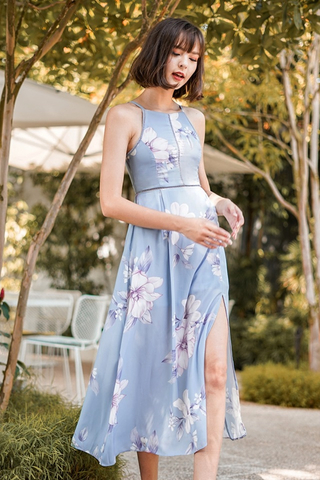 DIANTHA FLORAL EYELET MAXI DRESS #MADEBYLOVET (GREYISH BLUE) *RESTOCKED*