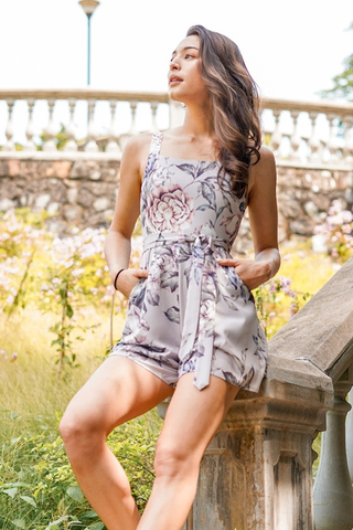 ELEN FLORAL SQUARE NECK ROMPER WITH SASH #MADEBYLOVET (TAUPE GREY)