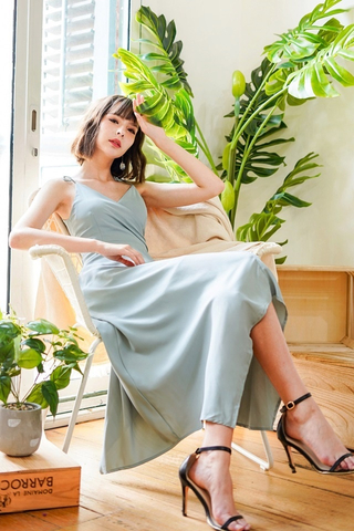 ZARIELLE TIE-STRING WRAP MAXI DRESS #MADEBYLOVET (SEAFOAM)