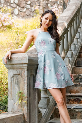 NIKKI FLORAL CUT-IN DRESS #MADEBYLOVET (SAGE)