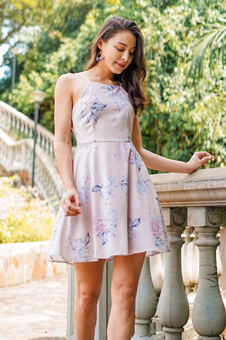 NIKKI FLORAL CUT-IN DRESS #MADEBYLOVET (BLUSH)