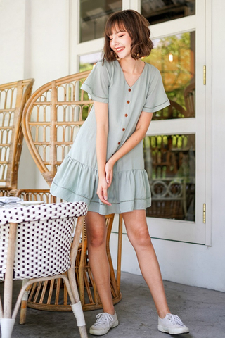 RICO EYELET BUTTON DROPWAIST DRESS #MADEBYLOVET (SAGE)