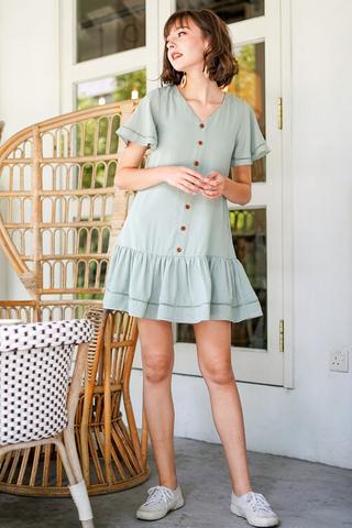 RICO EYELET BUTTON DROPWAIST DRESS #MADEBYLOVET (SAGE)