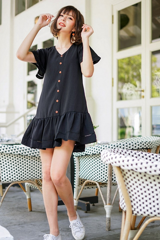 RICO EYELET BUTTON DROPWAIST DRESS #MADEBYLOVET (BLACK) *RESTOCKED*