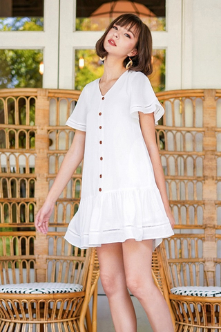 RICO EYELET BUTTON DROPWAIST DRESS #MADEBYLOVET (WHITE)