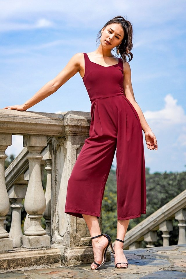 CELESTAL SWEETHEART JUMPSUIT WITH SASH #MADEBYLOVET (WINE)