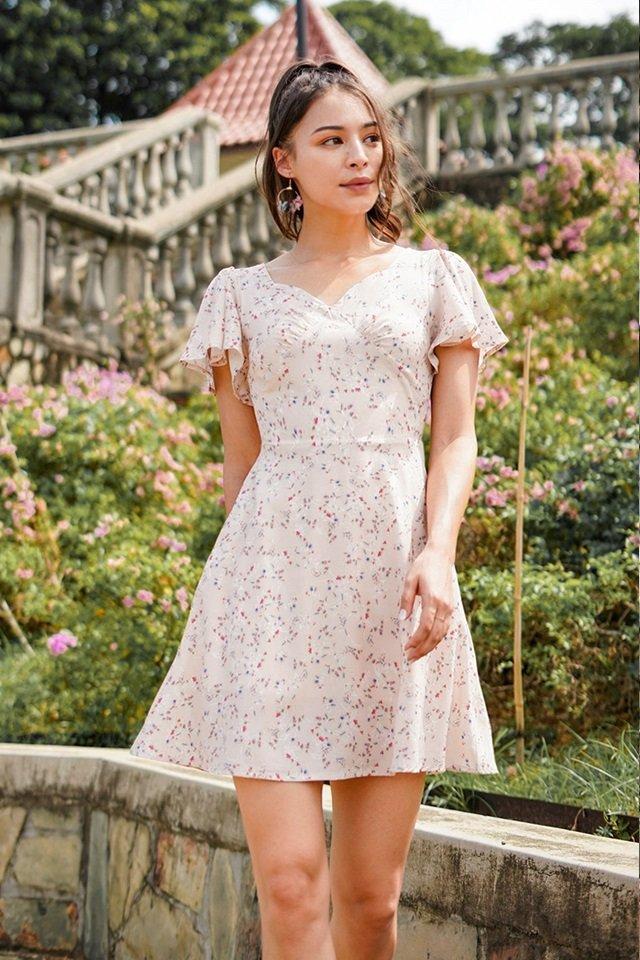 FELINE FLORAL BUSTIER SWEETHEART DRESS #MADEBYLOVET (CREAM)