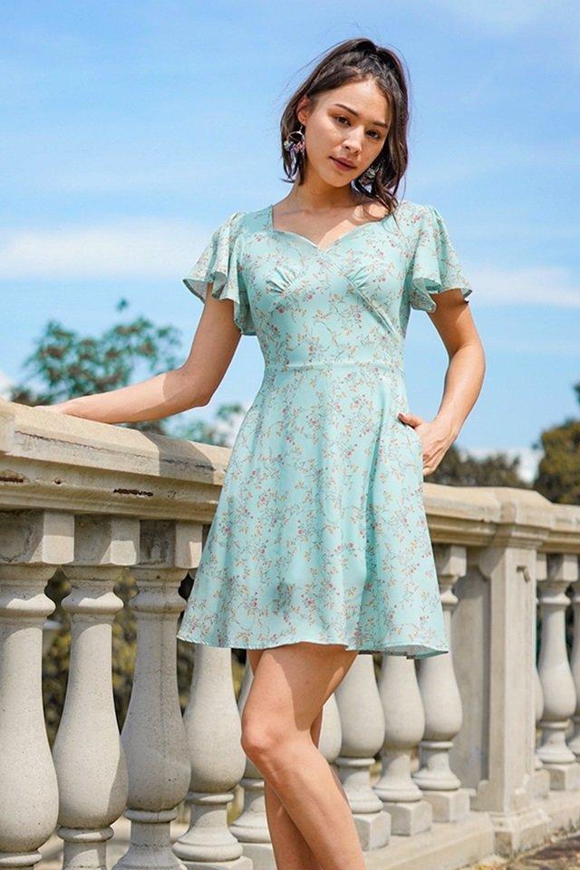 FELINE FLORAL BUSTIER SWEETHEART DRESS #MADEBYLOVET (SPRING GREEN)