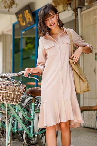 VIVI DROPWAIST MIDI SHIRT DRESS WITH SASH #MADEBYLOVET (SAND)
