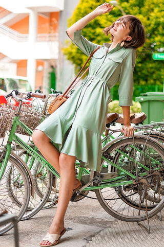 VIVI DROPWAIST MIDI SHIRT DRESS WITH SASH #MADEBYLOVET (PISTACHIO)