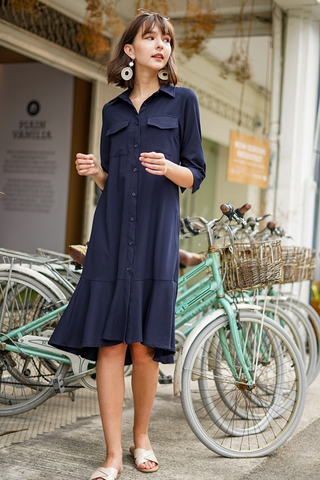 VIVI DROPWAIST MIDI SHIRT DRESS WITH SASH #MADEBYLOVET (NAVY)