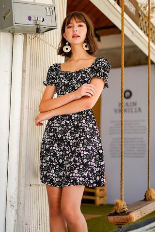 CAMELIA FLORAL RIBBON 2-WAY DRESS #MADEBYLOVET (BLACK)