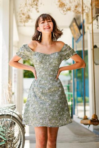 CAMELIA FLORAL RIBBON 2-WAY DRESS #MADEBYLOVET (JADE GREEN) *BACKORDER*