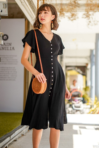 CARLY SHELL BUTTONS LINEN MIDI DRESS WITH SASH #MADEBYLOVET (BLACK) *RESTOCKED*