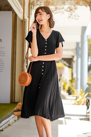 CARLY SHELL BUTTONS LINEN MIDI DRESS WITH SASH #MADEBYLOVET (BLACK)