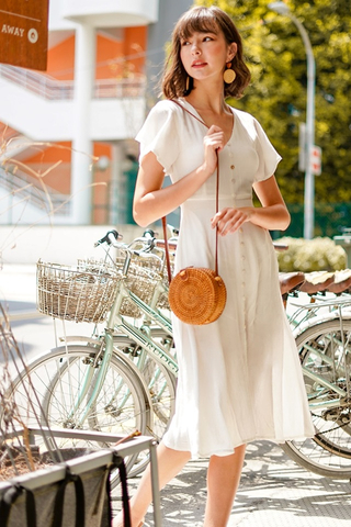 CARLY SHELL BUTTONS LINEN MIDI DRESS WITH SASH #MADEBYLOVET (WHITE) *RESTOCKED*