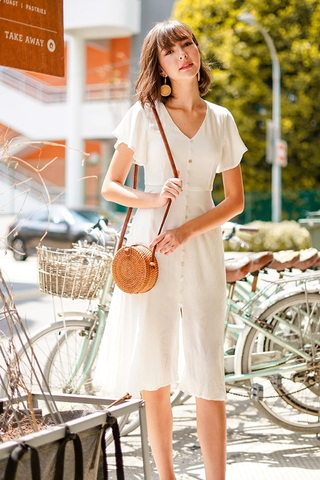 CARLY SHELL BUTTONS LINEN MIDI DRESS WITH SASH #MADEBYLOVET (WHITE) *BACKORDER*